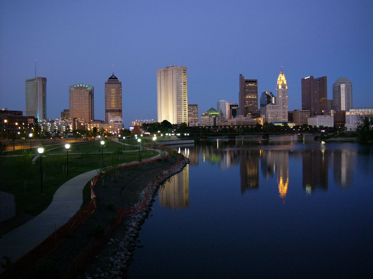 Downtown Columbus at dusk